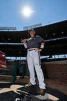 Michael Amditis (2) of Boca Raton Community High School in Boca Raton, Florida poses for a photo during batting practice before the Under Armour All-American Game on August 15, 2015 at Wrigley Field in Chicago, Illinois. (Mike Janes/Four Seam Images)