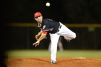 Ball State Cardinals pitcher Matt Johnson (16) during a game against the Mississippi Valley State Delta Devils on February 21, 2014 at North Charlotte Regional Park in Port Charlotte, Florida.  Ball State defeated Mississippi Valley 12-1.  (Mike Janes/Four Seam Images)