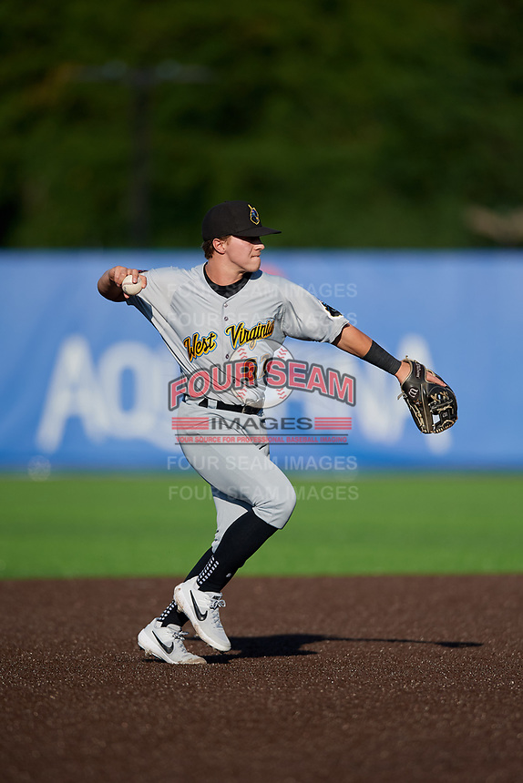 West Virginia Black Bears shortstop Ethan Paul (62) throws to first base during a NY-Penn League game against the Auburn Doubledays on August 23, 2019 at Falcon Park in Auburn, New York.  West Virginia defeated Auburn 8-1, the first game of a doubleheader.  (Mike Janes/Four Seam Images)