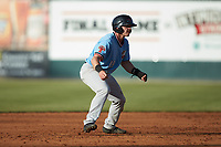 Matt Whatley (19) of the Hickory Crawdads takes his lead off of second base against the Kannapolis Intimidators at Kannapolis Intimidators Stadium on May 6, 2019 in Kannapolis, North Carolina. The Crawdads defeated the Intimidators 2-1 in game one of a double-header. (Brian Westerholt/Four Seam Images)