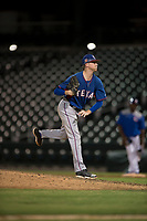 AZL Rangers relief pitcher Braden Pearson (37) follows through on his delivery during an Arizona League game against the AZL Cubs 2 at Sloan Park on July 7, 2018 in Mesa, Arizona. AZL Rangers defeated AZL Cubs 2 11-2. (Zachary Lucy/Four Seam Images)