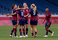 SAITAMA, JAPAN - JULY 24: Christen Press #11 of the USWNT celebrates her goal with Alex Morgan #13 during a game between New Zealand and USWNT at Saitama Stadium on July 24, 2021 in Saitama, Japan.