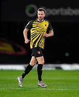 Tom Cleverley of Watford during the Sky Bet Championship behind closed doors match played without supporters with the town in tier 4 of the government covid-19 restrictions, between Watford and Norwich City at Vicarage Road, Watford, England on 26 December 2020. Photo by Andy Rowland.