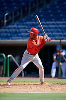 Philadelphia Phillies Luis Matos (25) at bat during a Florida Instructional League game against the Toronto Blue Jays on September 24, 2018 at Spectrum Field in Clearwater, Florida.  (Mike Janes/Four Seam Images)