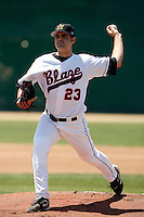 Richard Bleier of the  Bakersfield Blaze pitching in his first California League game against the Visalia Rawhide at Sam Lynn Field, Bakersfield, CA - 05/260/2009. Bleier was the winning pitcher in a 5-2 victory..Photo by:  Bill Mitchell/Four Seam Images