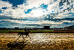 October 2, 2020: Horses exercise just after sunrise as horses prepare for the Preakness Stakes Week races at Pimlico Race Course in Baltimore, Maryland. Scott Serio/Eclipse Sportswire/CSM