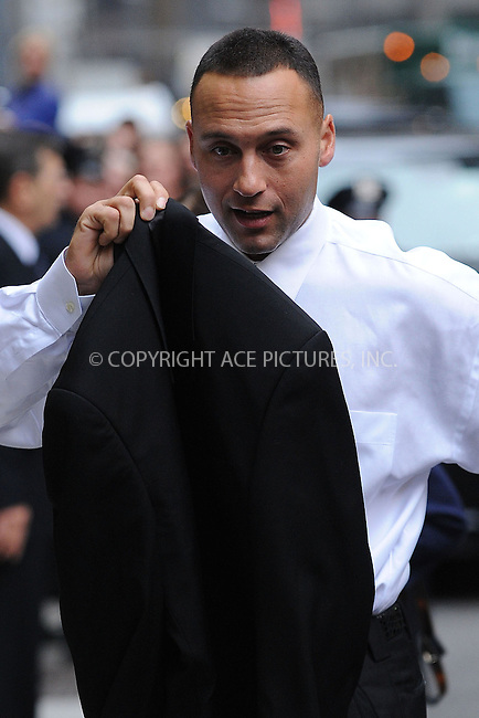 WWW.ACEPIXS.COM . . . . . ....November 5 2009, New York City....Baseball player Derek Jeter of the New York Yankees made an appearance at the 'Late Show With David Letterman' at the Ed Sullivan Theater on November 5, 2009 in New York City.....Please byline: KRISTIN CALLAHAN - ACEPIXS.COM.. . . . . . ..Ace Pictures, Inc:  ..tel: (212) 243 8787 or (646) 769 0430..e-mail: info@acepixs.com..web: http://www.acepixs.com