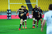 North's Beauden Barrett kicks for touch during the rugby match between North and South at Sky Stadium in Wellington, New Zealand on Saturday, 5 September 2020. Photo: Dave Lintott / lintottphoto.co.nz