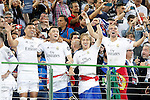 Real Madrid's Carlos Henrique Casemiro, Mateo Kovacic, Luka Modric and Pepe celebrate the victory in the UEFA Champions League 2015/2016 Final match.May 28,2016. (ALTERPHOTOS/Acero)