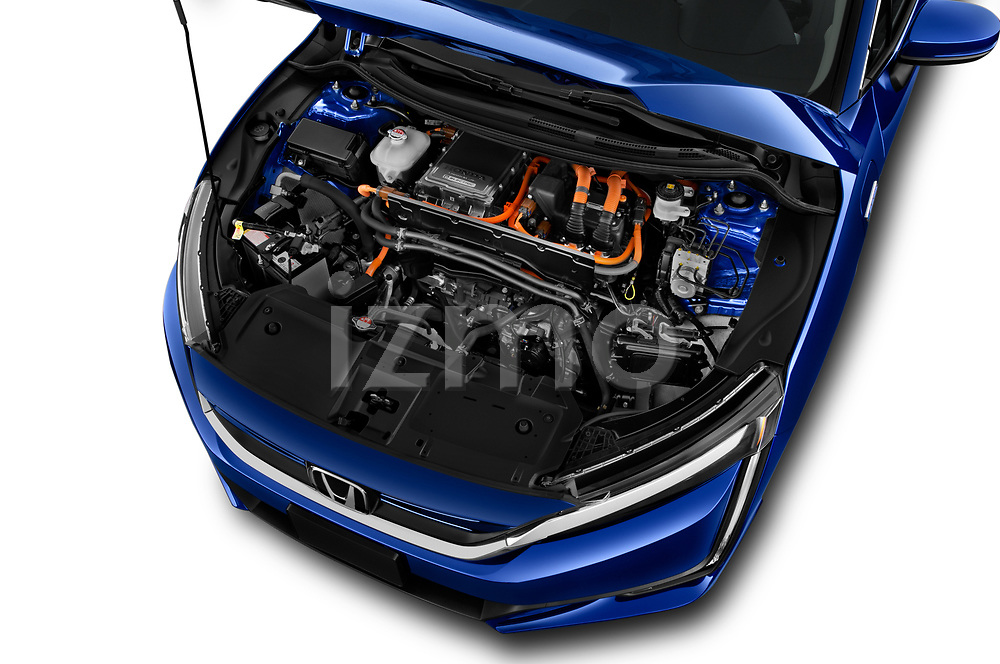 Car stock 2017 Honda Clarity Electric 5 Door Hatchback engine high angle detail view