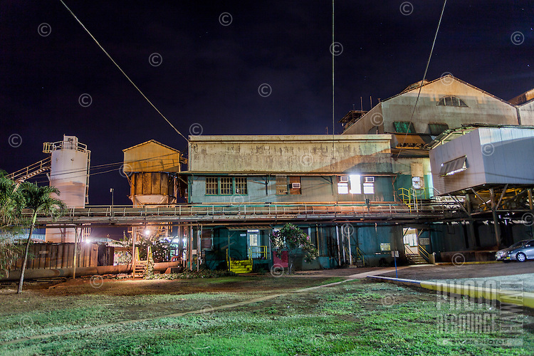 Hawaiian Commercial & Sugar Company mill at night in Pu'unene, Maui