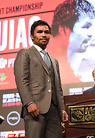 LAS VEGAS - JULY 17: Manny Pacquiao attends the final press conference for the PBC on Fox Sports Pay-Per-View at the MGM Grand on July 17, 2019 in Las Vegas, Nevada. (Photo by Frank Micelotta/Fox Sports/PictureGroup)