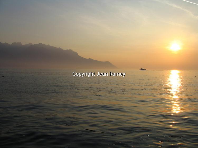 Sunset on Lake Geneva, Switzerland