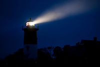 Nauset Light shines during a stormy night, Cape Cod National Seashore, Eastham, Cape Cod, MA, USA