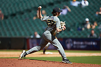 Missouri Tigers relief pitcher Andrew Vail (27) in action against the Baylor Bears in game one of the 2020 Shriners Hospitals for Children College Classic at Minute Maid Park on February 28, 2020 in Houston, Texas. The Bears defeated the Tigers 4-2. (Brian Westerholt/Four Seam Images)
