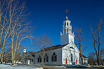 The Meeting House of the First Parish of Castine (1790), the oldest church edifice in eastern Maine, in Castine, Maine, USA
