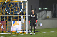 SAN JOSE, CA - SEPTEMBER 13: David Bingham # 1 of the L.A. Galaxy during warm ups during a game between Los Angeles Galaxy and San Jose Earthquakes at Earthquakes Stadium on September 13, 2020 in San Jose, California.