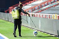 A Bristol City groundsman sprays anti-baterial spray over the match balls <br /> <br /> Photographer Ian Cook/CameraSport<br /> <br /> The EFL Sky Bet Championship - Bristol City v Sheffield Wednesday - Sunday 27th September, 2020 - Ashton Gate - Bristol<br /> <br /> World Copyright © 2020 CameraSport. All rights reserved. 43 Linden Ave. Countesthorpe. Leicester. England. LE8 5PG - Tel: +44 (0) 116 277 4147 - admin@camerasport.com - www.camerasport.com