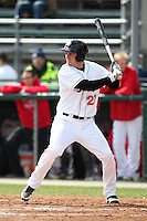 Hagerstown Suns designated hitter Caleb Ramsey #27 at bat during a game against the Lexington Legends at Municipal Park on April 11, 2012 in Hagerstown, Maryland.  Lexington defeated Hagerstown 3-0.  (Mike Janes/Four Seam Images)