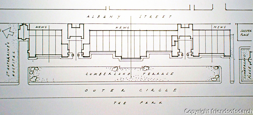 Cumberland Terrace, Regent's Park, London.  Plan by John Nash, 1826.