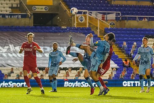 20th November 2020; St Andrews Stadium, Coventry, West Midlands, England; English Football League Championship Football, Coventry City v Birmingham City; Tyler Walker of Coventry City clears the ball from his area