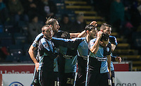 Celebrations as Michael Harriman (left) of Wycombe Wanderers scores to make it 1-1 during the Sky Bet League 2 match between Wycombe Wanderers and Notts County at Adams Park, High Wycombe, England on 15 December 2015. Photo by Andy Rowland.