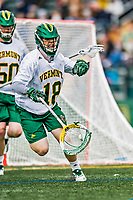6 April 2019:  University of Vermont Catamount Goalkeeper Nick Washuta, a Junior from Orono, MN, in action against the University at Albany Great Danes on Virtue Field in Burlington, Vermont. The Cats rallied to defeat the Danes 10-9 in America East divisional play. Mandatory Credit: Ed Wolfstein Photo *** RAW (NEF) Image File Available ***