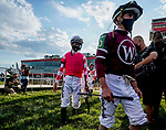 May 15, 2021: Jockeys walk to the saddling area for the Preakness on Preakness Stakes Day at Pimlico Race Course in Baltimore, Maryland. Scott Serio/Eclipse Sportswire/CSM
