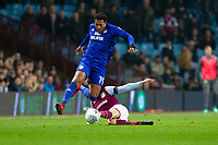 Nathaniel Mendez-Laing of Cardiff City is fouled by Conor Hourihane of Aston Villa during the Sky Bet Championship match between Aston Villa and Cardiff City at Villa Park, Birmingham, England on 10 April 2018. Photo by Mark  Hawkins / PRiME Media Images.
