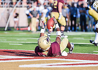 Texas State wide receiver Jafus Gaines (80) catches a pass in the end zone for a touch down during first half of NCAA Football game, Saturday, August 30, 2014 in San Marcos, Tex. Texas State leads Arkansas Pine-Bluff 42-0 at the halftime. (Mo Khursheed/TFV Media via AP Images)