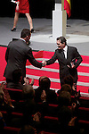 Spain's crown Prince Felipe shakes hands with actor Antonio Banderas during the ceremony to designate ambassadors of the Brand Spain. February 12, 2013. (ALTERPHOTOS/Alvaro Hernandez)