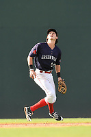 Shortstop Ryan Fitzgerald (24) of the Greenville Drive tracks a pop fly in Game 1 of a doubleheader against the Rome Braves on Friday, August 3, 2018, at Fluor Field at the West End in Greenville, South Carolina. Rome won, 7-6. (Tom Priddy/Four Seam Images)