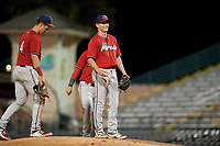 Fort Myers Miracle relief pitcher Calvin Faucher (12) looks to manager Toby Gardenhire (not shown) before a pitching change during a Florida State League game against the Bradenton Marauders on April 23, 2019 at LECOM Park in Bradenton, Florida.  Fort Myers defeated Bradenton 2-1.  (Mike Janes/Four Seam Images)
