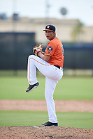 GCL Astros relief pitcher Jose Bravo (18) delivers a pitch during a game against the GCL Marlins on August 5, 2018 at FITTEAM Ballpark of the Palm Beaches in West Palm Beach, Florida.  GCL Astros defeated GCL Marlins 2-1.  (Mike Janes/Four Seam Images)