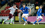 St Johnstone v Hearts…30.10.19   McDiarmid Park   SPFL<br />David Wotherspoon holds off Callum Morrison <br />Picture by Graeme Hart.<br />Copyright Perthshire Picture Agency<br />Tel: 01738 623350  Mobile: 07990 594431