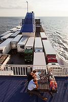 Kiel, Germany, 17/07/2013.<br /> Tourists and trucks on Kiel to Klaipeda ferry.