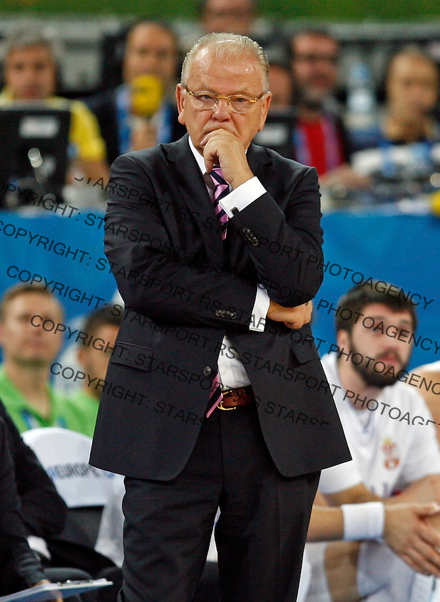 """Serbia`s national basketball team head coach Dusan Ivkovic during European basketball championship """"Eurobasket 2013"""" classification basketball game from 5th to 8th place between Serbia and Slovenia in Stozice Arena in Ljubljana, Slovenia, on September 19. 2013. (credit: Pedja Milosavljevic  / thepedja@gmail.com / +381641260959)"""