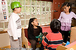 Education preschoool children ages 3-5 pretend play group of boys and girls playing together talking horizontal