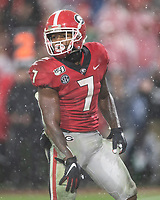 ATHENS, GA - OCTOBER 19: D'Andre Swift #7 of the Georgia Bulldogs celebrates after Georgia's 3rd touchdown during a game between University of Kentucky Wildcats and University of Georgia Bulldogs at Sanford Stadium on October 19, 2019 in Athens, Georgia.
