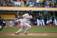 OAKLAND, CA - JULY 31:  Denard Span #2 of the San Francisco Giants bats against the Oakland Athletics during the game at the Oakland Coliseum on Monday, July 31, 2017 in Oakland, California. (Photo by Brad Mangin)