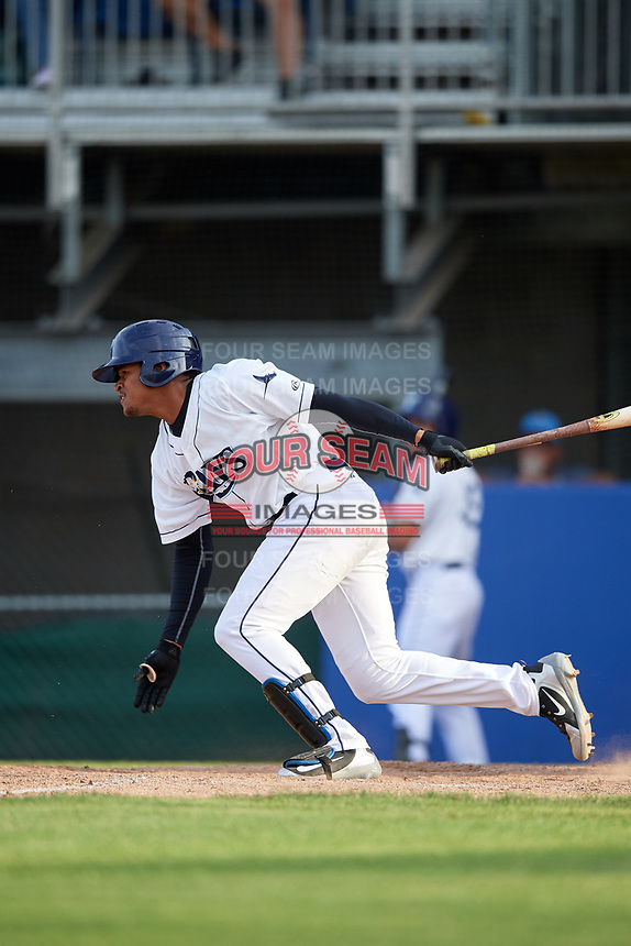 Princeton Rays pinch hitter Pedro Diaz (30) grounds out during the first game of a doubleheader against the Johnson City Cardinals on August 17, 2018 at Hunnicutt Field in Princeton, Virginia.  Johnson City defeated Princeton 6-4.  (Mike Janes/Four Seam Images)