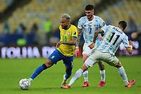 10th July 2021, Estádio do Maracanã, Rio de Janeiro, Brazil. Copa America tournament final, Argentina versus Brazil;  Ángel Di María of Argentina is beaten by Neymar of Brazil
