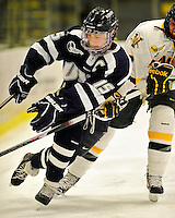 11 February 2011: University of New Hampshire Wildcat defenseman Raylen Dziengelewski, a Senior from Southwick, MA, in action against the University of Vermont Catamounts at Gutterson Fieldhouse in Burlington, Vermont. The Lady Catamounts defeated the visiting Lady Wildcats 4-2 in Hockey East play. Mandatory Credit: Ed Wolfstein Photo
