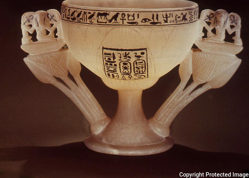 Egypt:  White Lotus Chalice--alabaster.  Treasures of Tutankhamun, Cairo Museum.  MMA 1976.