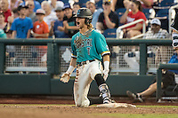 Zach Remillard #7 of the Coastal Carolina Chanticleers celebrates during a College World Series Finals game between the Coastal Carolina Chanticleers and Arizona Wildcats at TD Ameritrade Park on June 27, 2016 in Omaha, Nebraska. (Brace Hemmelgarn/Four Seam Images)