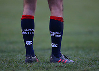 A general view of London Scottish kit socks during the Greene King IPA Championship match between London Scottish Football Club and Jersey at Richmond Athletic Ground, Richmond, United Kingdom on 16 December 2017. Photo by Mark Kerton / PRiME Media Images.