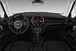 Stock photo of straight dashboard view of a 2019 Mini mini Cooper 3 Door Hatchback