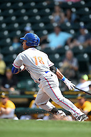 St. Lucie Mets outfielder Victor Cruzado (18) at bat during a game against the Bradenton Marauders on April 12, 2015 at McKechnie Field in Bradenton, Florida.  Bradenton defeated St. Lucie 7-5.  (Mike Janes/Four Seam Images)