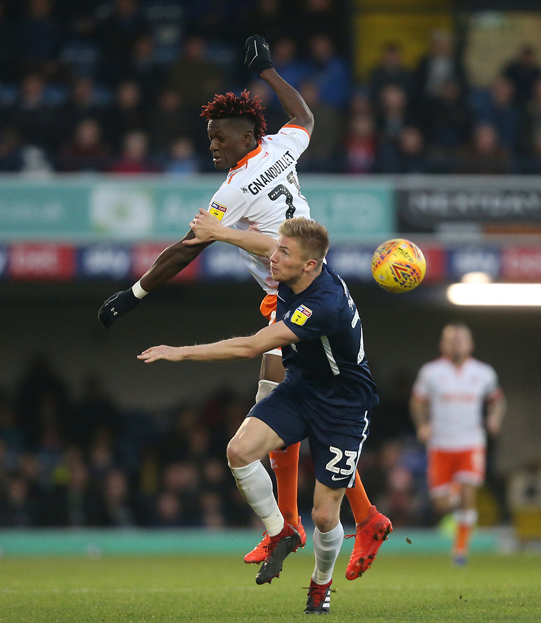 Blackpool's Armand Gnanduillet and Southend United's Taylor Moore<br /> <br /> Photographer Rob Newell/CameraSport<br /> <br /> The EFL Sky Bet League One - Southend United v Blackpool - Saturday 17th November 2018 - Roots Hall - Southend<br /> <br /> World Copyright © 2018 CameraSport. All rights reserved. 43 Linden Ave. Countesthorpe. Leicester. England. LE8 5PG - Tel: +44 (0) 116 277 4147 - admin@camerasport.com - www.camerasport.com