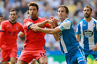Deportivo de la Coruna's Pedro Mosquera (r) and Real Sociedad's Xabi Prieto during La Liga match. September 10,2017.  *** Local Caption *** © pixathlon<br /> Contact: +49-40-22 63 02 60 , info@pixathlon.de